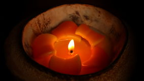 Tropical flower design candle isolated on black background stock footage