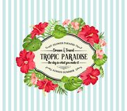 Free Tropical Flower Frame With Place For Invitation Card Text. Stock Photo - 108998710