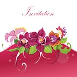Tropical flower invitation Stock Photo