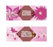 Tropical flower, orchid bazaar vector illustration. Flora banners, flyers. Exotic plants. Natutal concept. Beautiful. Pink blossom. Advertising of botanic or vector illustration