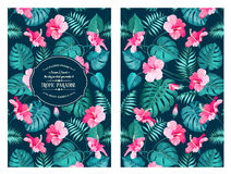 Tropical flower pattern. On the book cover design. Blossom flowers for nature background. Vector illustration Stock Illustration