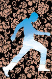 Tropical flower pattern man silhouette Stock Image