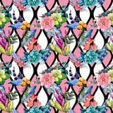 Tropical flower pattern in a watercolor style. Stock Images