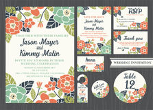 Tropical flower wedding invitation vintage design Stock Photos