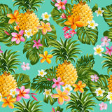 Tropical Flowers Background. Pinapples and Tropical Flowers Background -Vintage Seamless Pattern - in Stock Photo