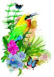 Tropical bird on flowers with butterflies on the background of multicolored paint splashes. royalty free stock photos