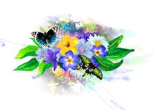 Tropical vegetation and butterflies on the background of multicolored paint splashes. royalty free stock images
