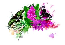 Tropical vegetation and butterflies on the background of multicolored paint splashes. royalty free illustration