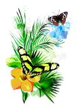 Tropical vegetation and butterflies on the background of multicolored paint splashes. royalty free stock image