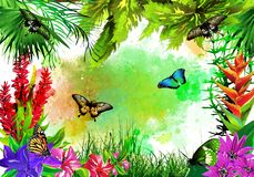 Tropical vegetation and butterflies on the background of multicolored paint splashes. royalty free stock photography
