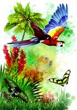 A multi-colored parrot with butterflies on an abstract background from paint drops. stock photo