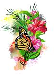 Butterfly with a flower on the background of rainbow splashes. royalty free stock image
