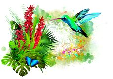Beautiful butterfly with tropical flowers and blue hummingbirds on colorful paint splashes. stock image
