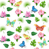 Tropical Flowers and Butterflies Seamless Pattern Royalty Free Stock Photo