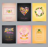 Tropical Flowers Card Set Royalty Free Stock Image