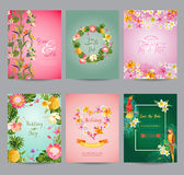 Tropical Flowers Card Set. For Wedding, Birthday, Baby Shower, Party - in vector Stock Photos