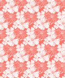 Tropical flowers in coral, seamless vector pattern for a fresh summer mood royalty free illustration