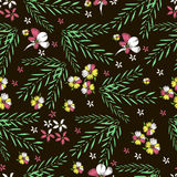 Tropical Flowers. Embroidery. Hand Drawn Vector Seamless Patter Stock Images