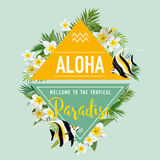 Tropical Flowers and Exotic Fish Background. Summer Design. T-shirt Fashion Graphic. Stock Photo