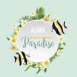 Tropical Flowers and Exotic Fish Background. Summer Design. T-shirt Fashion Graphic. Stock Photos