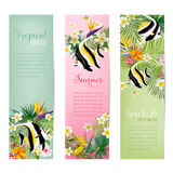 Tropical Flowers and Exotic Fish Banners and Tags, Vintage Cards. In vector Stock Photo