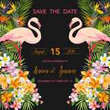 Tropical Flowers. Flamingo Bird. Save the Date. Tropical Card. Tropical Vector. Wedding Card. Floral Background Stock Photography