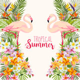 Tropical Flowers. Flamingo Bird. Tropical Background vector illustration
