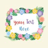 Tropical Flowers Frame - vector eps10. Tropical Flowers Frame with place for custom text - editable vector eps10 Royalty Free Stock Photos
