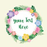 Tropical Flowers Frame - vector eps10. Tropical Flowers Frame with place for custom text - editable vector eps10 Stock Images