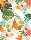 Tropical Flowers Graphic Design for t-shirt, fashion, prints stock illustration