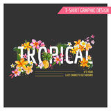 Tropical Flowers Graphic Design - for t-shirt Stock Images