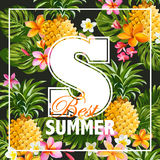 Tropical Flowers Graphic Design Royalty Free Stock Photo