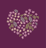 Tropical flowers in heart shape. Royalty Free Stock Photo
