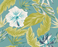 Tropical flowers, jungle leaves, bird of paradise flower. Beautiful seamless vector floral pattern background, exotic print Royalty Free Stock Image