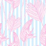 Seamless pattern with tropical leaves and flowers. royalty free illustration