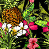 Tropical flowers, jungle leaves, paradise flower. Beautiful seamless vector floral pattern background, exotic print. Stock Photo