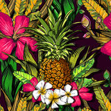 Tropical flowers, jungle leaves, paradise flower. Beautiful seamless vector floral pattern background, exotic print. EPS Stock Image