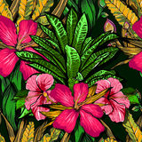 Tropical flowers, jungle leaves, paradise flower. Beautiful seamless vector floral pattern background, exotic print. Royalty Free Stock Photography