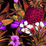 Tropical flowers, jungle leaves, paradise flower. Beautiful seamless vector floral pattern background, exotic print. Stock Image