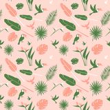 Seamless floral pattern background Tropical flowers, jungle palm leaves birds Stock Image
