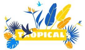 Vector floral pattern background Frame border Tropical flowers, jungle leaves royalty free illustration