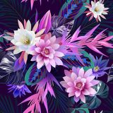 Tropical flowers and leaves seamless pattern royalty free stock photos