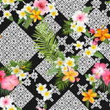 Tropical Flowers and Leaves Background - Seamless Pattern Stock Photo