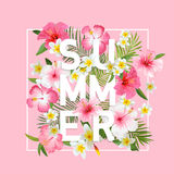 Tropical Flowers and Leaves Background. Summer Design Stock Photography