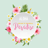 Tropical Flowers and Leaves Background. Summer Design Royalty Free Stock Images