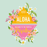 Tropical Flowers and Leaves Background. Summer Design Stock Images