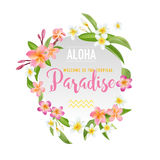 Tropical Flowers and Leaves Background. Summer Design Royalty Free Stock Photography