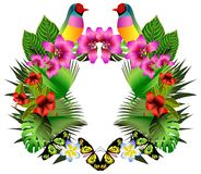 Tropical flowers and leaves and beautiful bird, bright illustrat Stock Photos