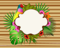 Tropical flowers and leaves and beautiful bird, bright illustrat Royalty Free Stock Images