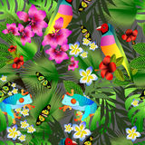Tropical flowers and leaves and beautiful bird seamless pattern Royalty Free Stock Photos